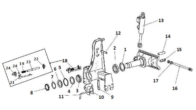 Запчастини передка і оборотника плуги Unia Ibis XL