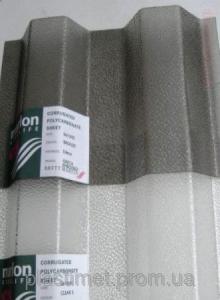 Профільний полікарбонат (прозорий шифер) Шагрінь прозорий