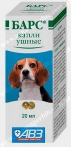 Барс капли ушные для собак и кошек Агроветзащита, Россия (20 мл)