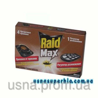 Рейд (Raid) от тараканов МАХ 4 приманка для тараканов с регулятором размножения (4 приманки+1 регулятор)