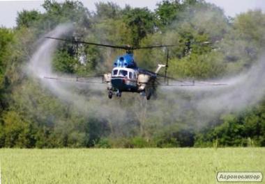 Авиахимработы: внесение средств защиты растений вертолетом