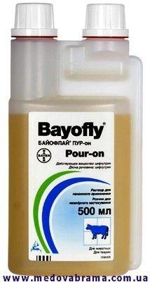 Байофлай Пур-он - захист ВРХ від нападів мух, гедзів та інших кровосисних комах (500 мл)