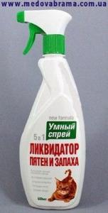 Умный спрей Ликвидатор пятен, меток и запаха кошек, Апи-Сан Россия (500 мл)