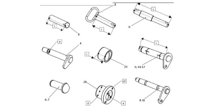 Пальци и втулки  для корпусов плугов Unia