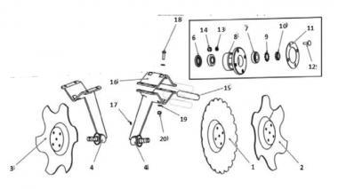 Запчастини для дискового сошника Unia TL 460 Ares L, Front TL (до 12.14 р)