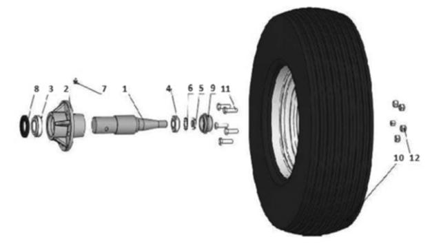 Комплект большого колеса для пружинной бороны Unia, Akcent 6,7,9,12