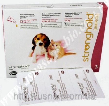Стронгхолд для кошенят і цуценят масою до 2,5 кг (1 піп. 15мг), Пфайзер, США)