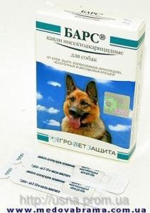 Барс краплі інсекто-акарицидні для собак, Агроветзащіта, Росія (4 піпетки)