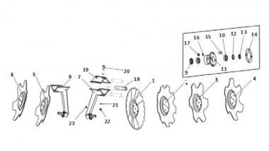 Запчастини для дискового сошника Unia 500 L L Ares