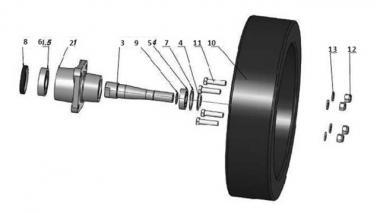Комплект маленького колеса для пружинной бороны Unia, Akcent 7,9,12