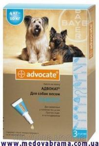 АДВОКАТ для собак от 4 до 10 кг от блох