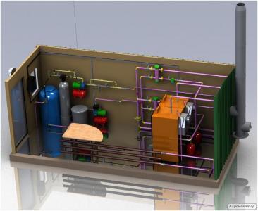 Блочно-модульні котельні на твердому паливі від 100кВт до 400кВт.