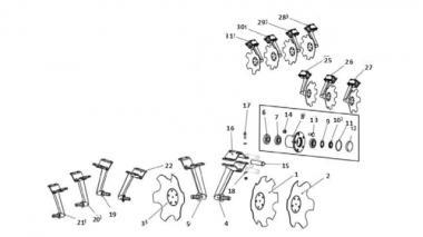 Запчастини для дискового сошника Unia AGRESSIVE L 460/4