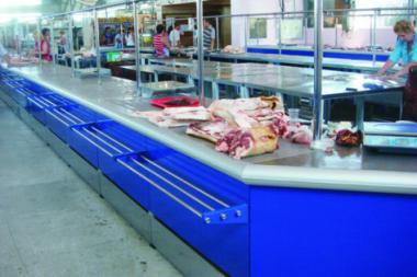 Прилавок холодильный торговый мясной для рынков