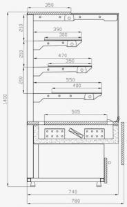 Кондитерская витрина Колд модель C- PN-w