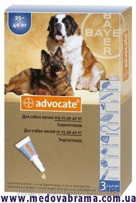 АДВОКАТ для собак від 25 до 40 кг від бліх