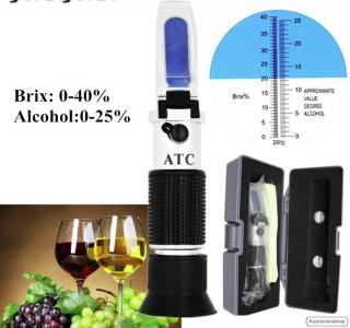 Рефрактометр для вина RHW-25DATC, 3 шкалы 0-40% Brix 0-25% vol