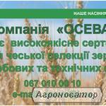 Високоякісне насіння чеської селекції зернових та бобових культур!