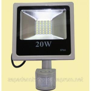 Світлодіодний прожектор LED 20Вт 6200К 1810Лм, IP66 з датчиком руху