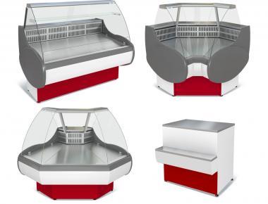 Холодильные витрины угловые (внутренний/внешний угол)торговые прилавки