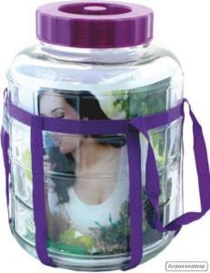 Бутель склянний для вина з гідрозатворів від 5 до 30 літрів