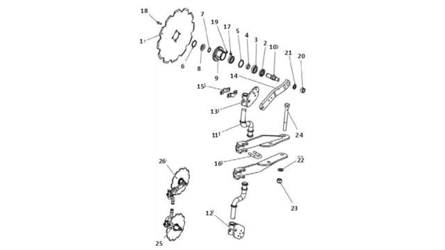 Запчастини для дискового сошника Unia B Ibis XL; XXL; VIS