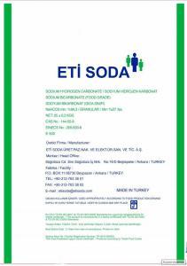 Сода пищевая (бикарбонат натрия) / ETİ SODA, Турция