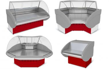 Холодильні вітрини кутові (внутрішній/зовнішній кут)торгові прилавки