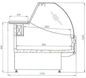 Холодильная витрина W-N 1,0 1,2 1,5 1,8 2,0 Cold