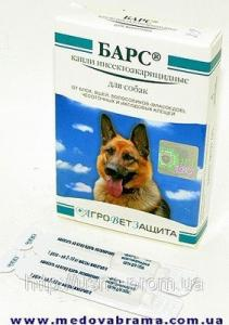 Барс краплі инсектоакарицидные для собак, Агроветзащіта, Росія (4 піпетки)