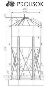 Металлический силос 10,3 т, 14.7 м3