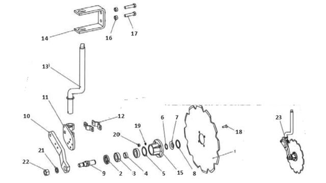 Запчастини для дискового сошника Unia B TUR; TUR Vario
