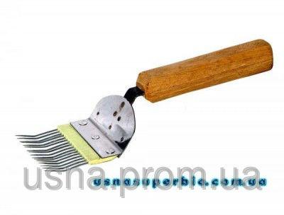 Вилка для роздрукування стільників з гнутої голкою (нержавійка, пластмасова вставка, дерев'яна ручка)