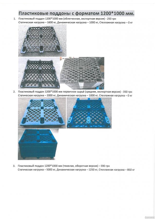 Пластиковые поддоны с форматом 1200*1000 мм.