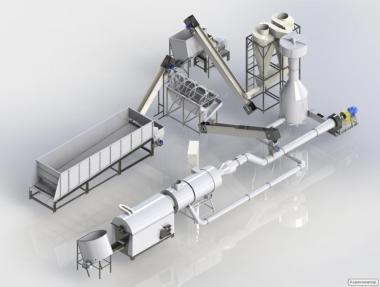 Комплектный завод по производству топливных пеллет из древесины  (1т/ч
