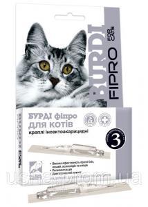 Бурди (перметрин 5%) краплі инсектоакарицидные для котів (1 мл №3)