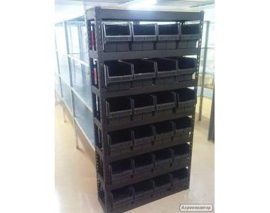 Стелаж на 24 скриньки під металовироби. Ящик для складу черн. 200 х 210 х 350